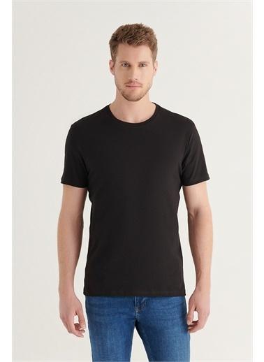 Avva E001011 2'Li Bisiklet Yaka Düz T-Shirt E001011 Siyah